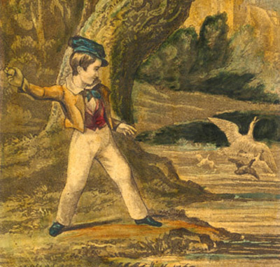 Boy throwing stones