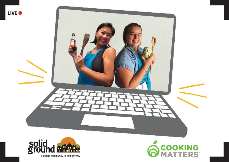 Graphic of two women in aprons, standing back-to-back, on a laptop screen, with the Solid Ground and Cooking Matters logos