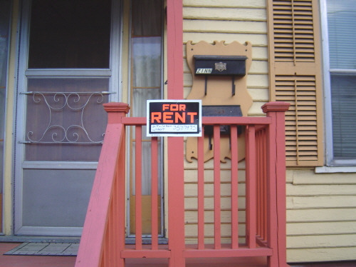 for rent sign on porch