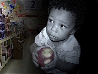 Small child with apple