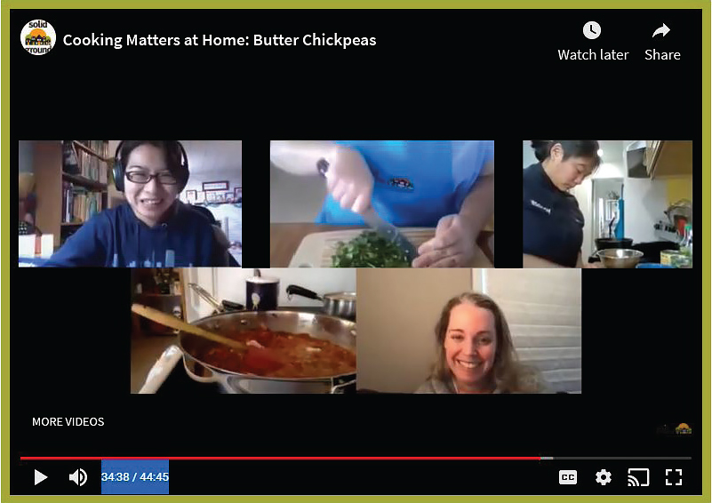A screen shot of a cooking class conducted over a Zoom video conference.