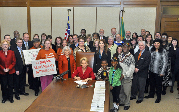 Governor Christine Gregoire signs the Foreclosure Fairness Act