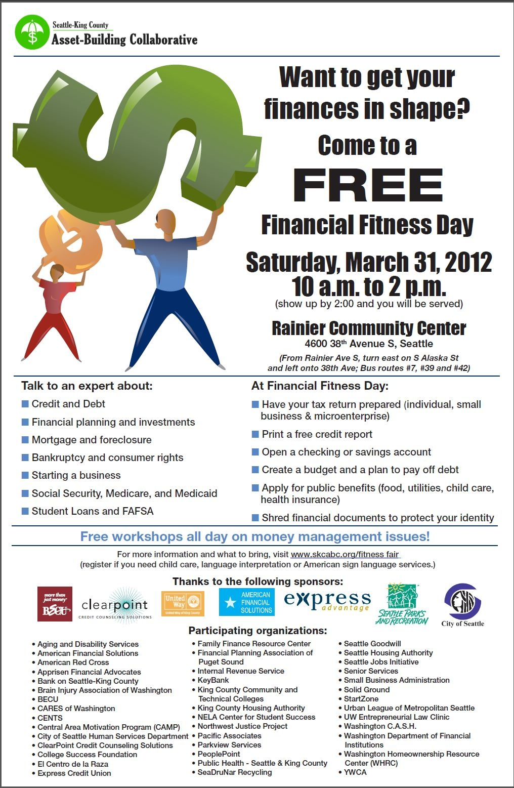 Financial Fitness Day, 3/31/12, 10am-2pm