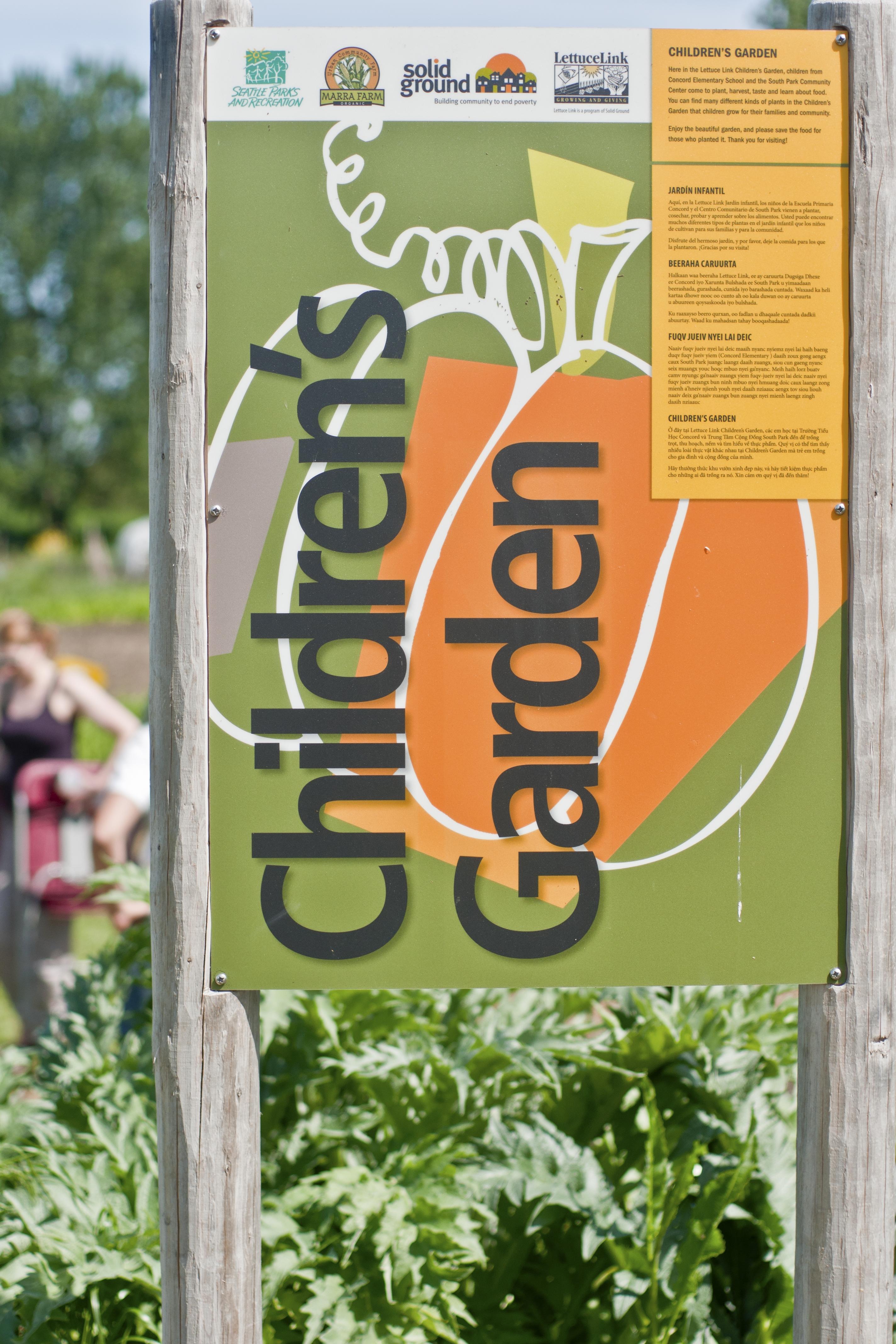 Children's Garden sign at Marra Farm