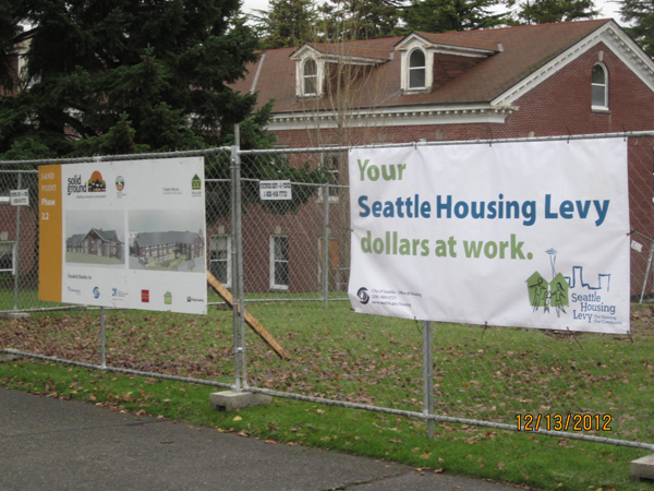Construction banners along Sand Point Way NE