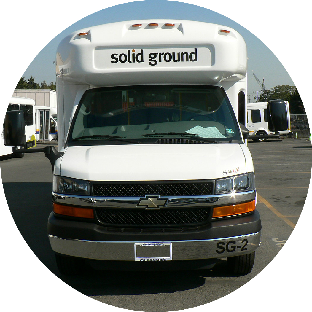 Front view of a Solid Ground Circulator bus