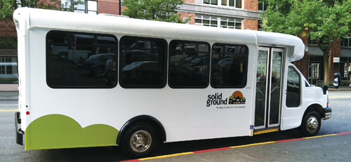 Side view of a Solid Ground Circulator bus