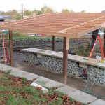 This canopy, placed directly over the sinks, will provide shelter for washing the harvested vegetables.