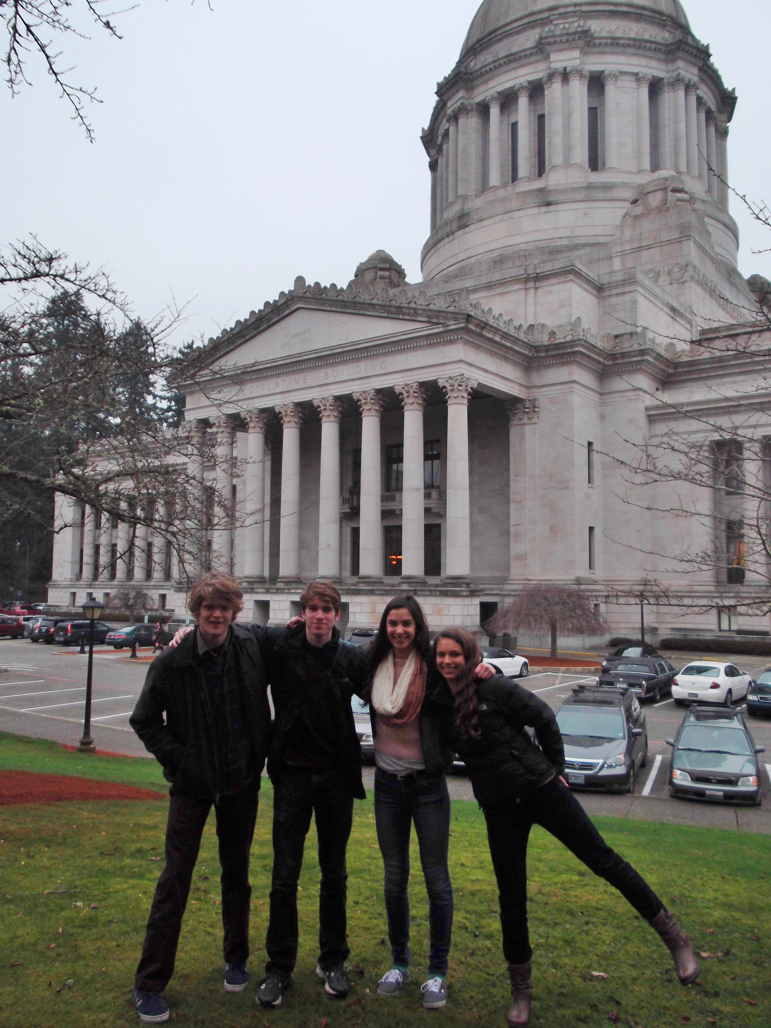 part of the Hales H.S. crew in Olympia l to r: Robert Mercer, Francis Britschgi, Naomi Price-Lazarus and Jasmine Shirey. Photo by Anthony Bencivengo.