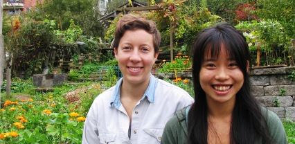 Siena Ezekiel and Vania Chan in the Children's Garden