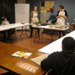 Volunteers describe the recipes for the class