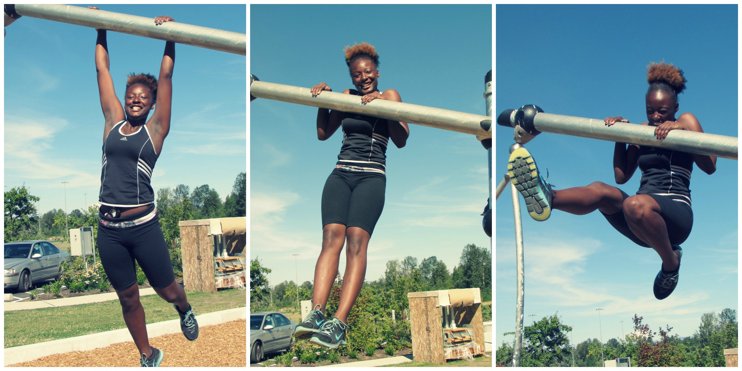 Deiosha showing off her fave move: chest-to-bar pull-ups!