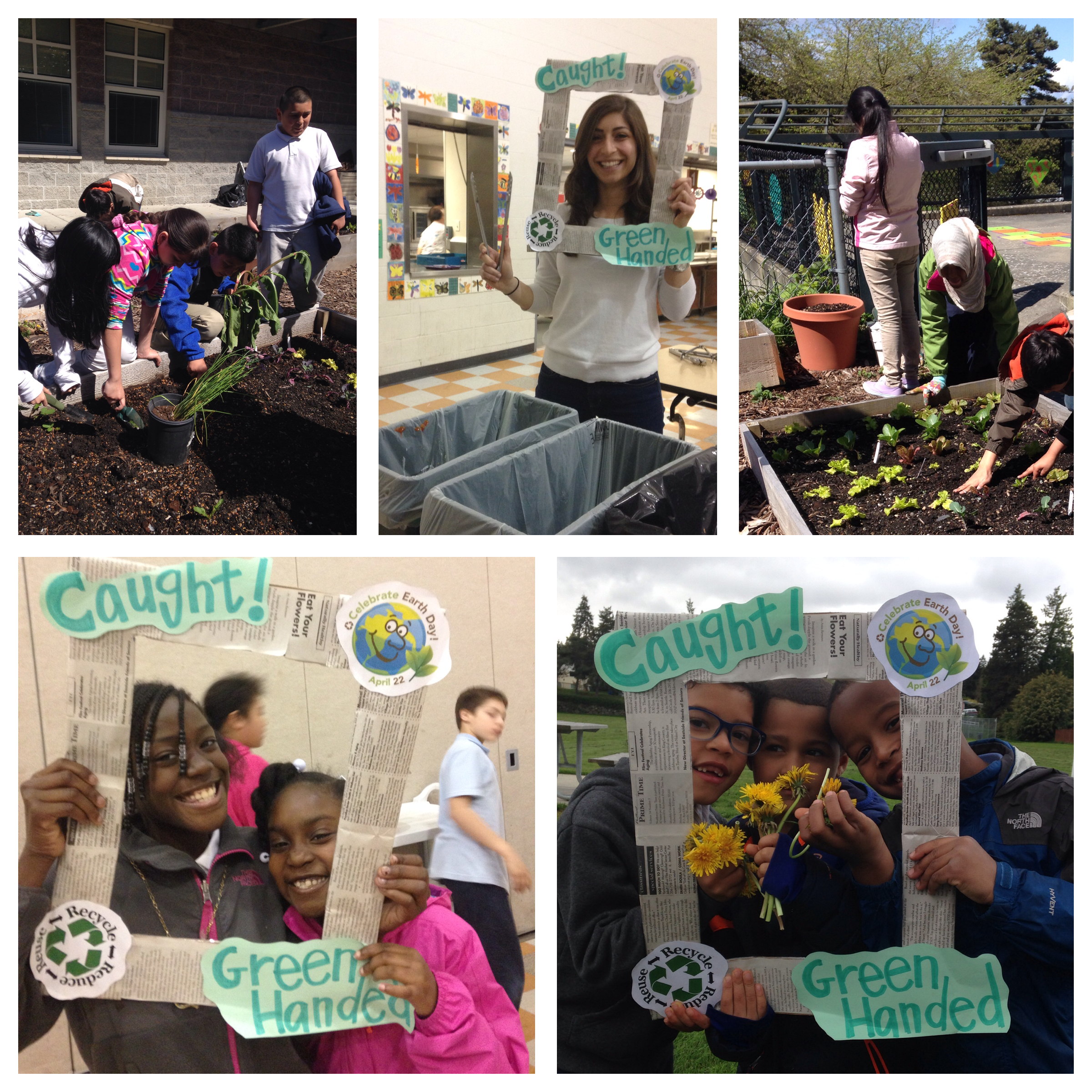 "Students at Emerson embraced the title of ""Compost Hero"" with their fearless leader, Ms. Randa, a fellow Apple Corps Member (pictured top center)"
