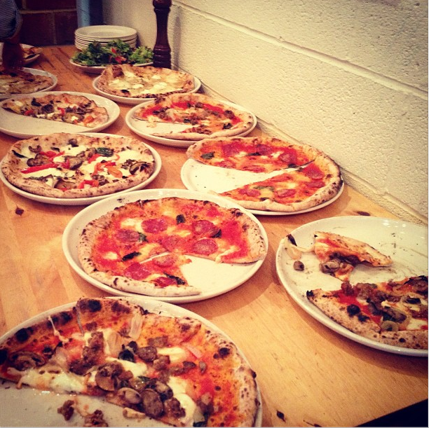Our pizza spread provided by Tutta Bella for our End of the Year Celebration!
