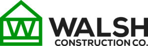 WALSH CONSTRUCTION CO. logo in dark grey lettering with a green graphic