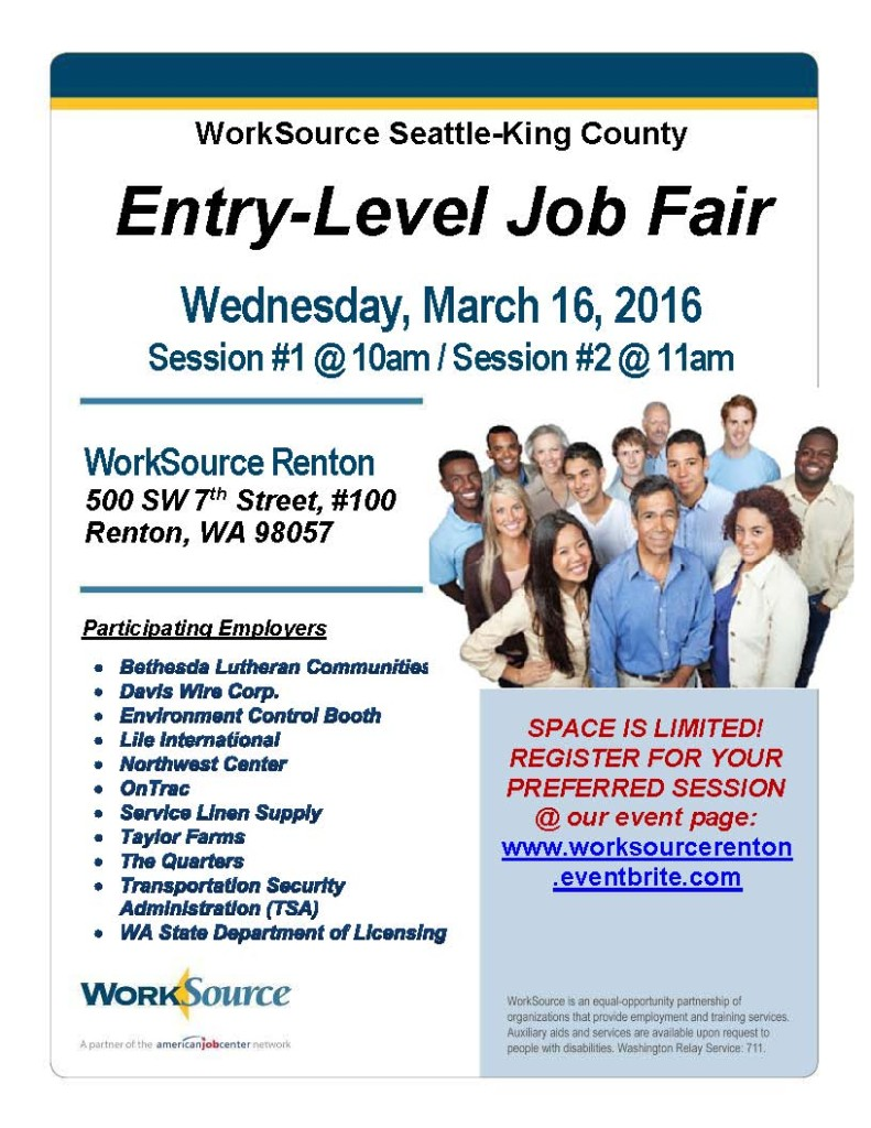 WorkSource Entry Level Flyer
