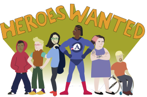 Cartoon of people in superhero garb volunteering for AmeriCoprs duty.