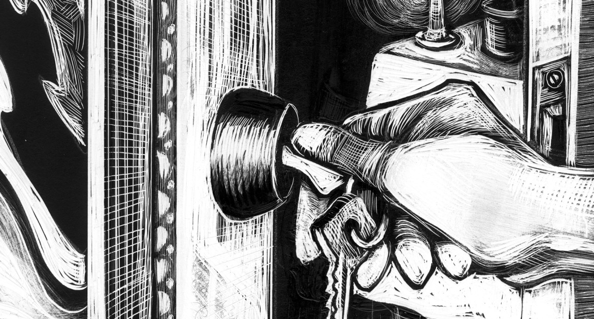 Line art drawing of a hand putting a key into a door and opening it