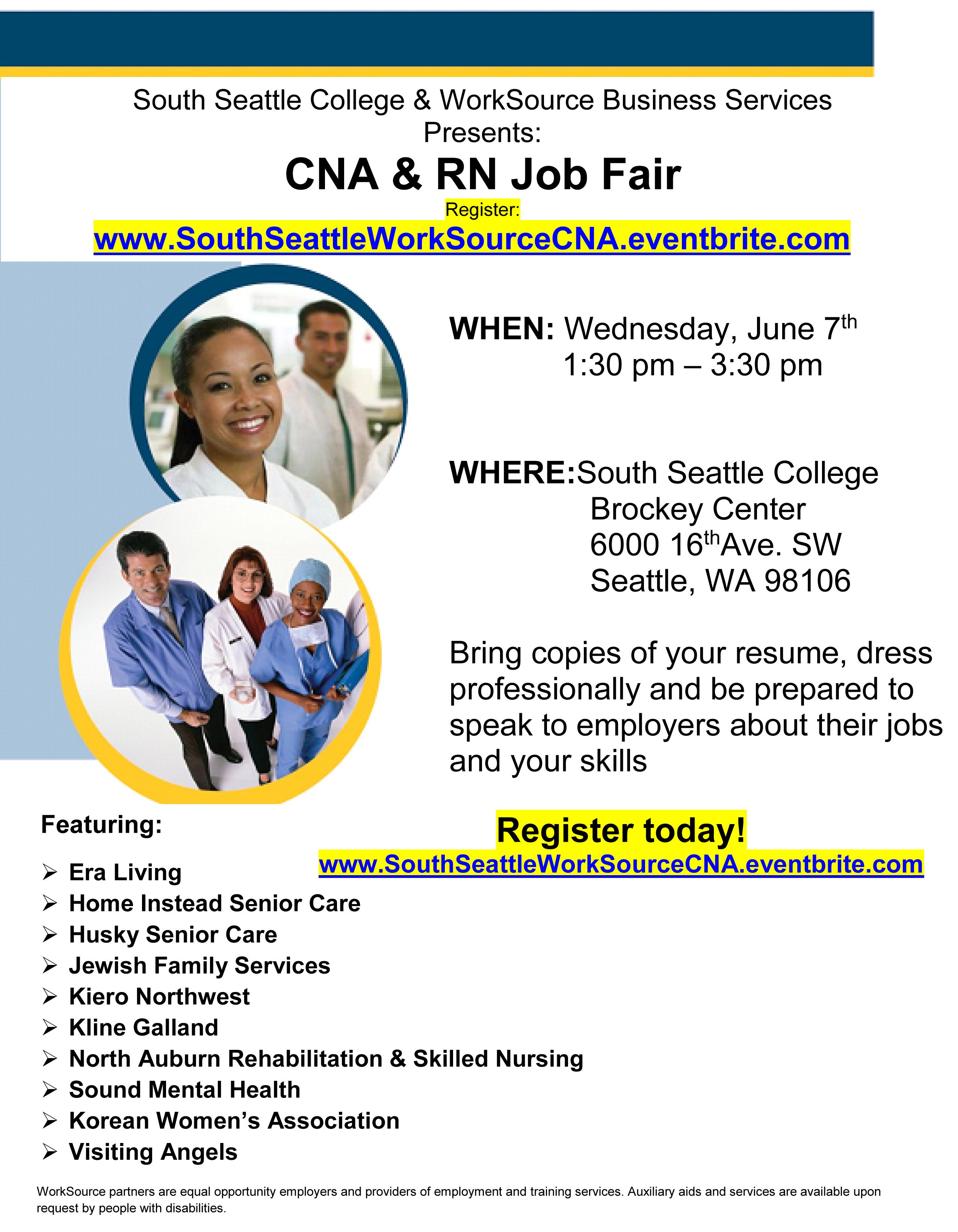 6-7 South Seattle CNA job fair