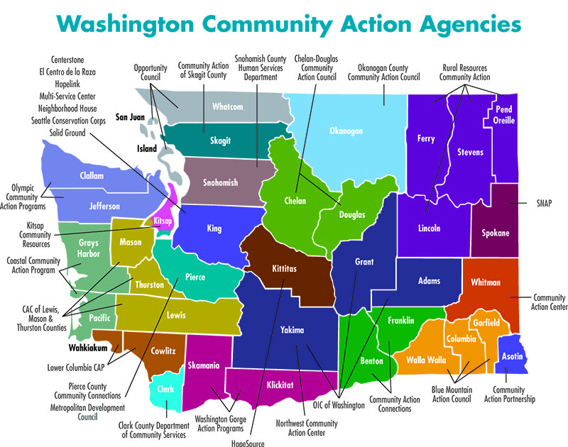 Map of WA State showing location of all Community Action Agencies