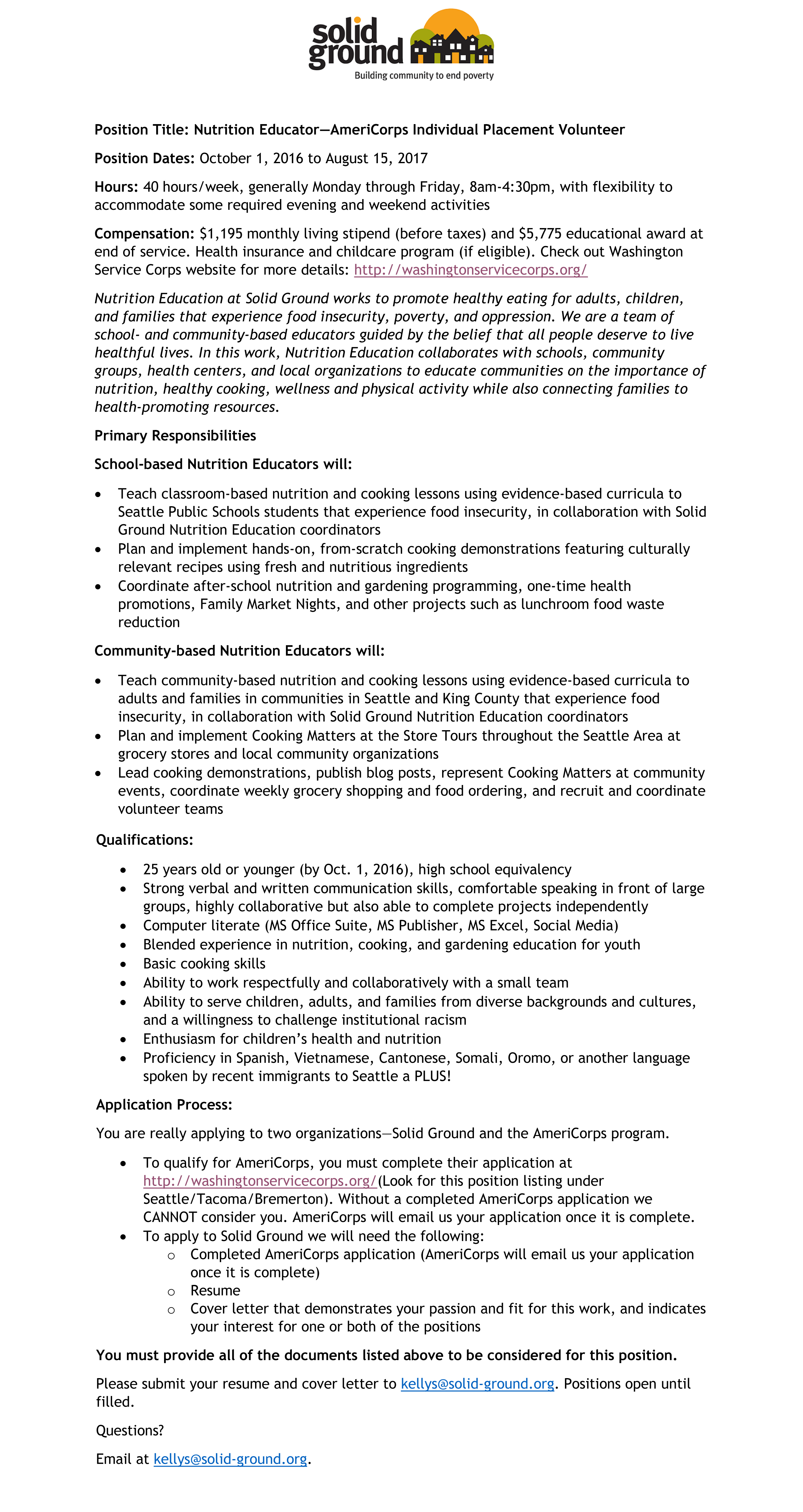 AmeriCorps Nutrition Educator 062016