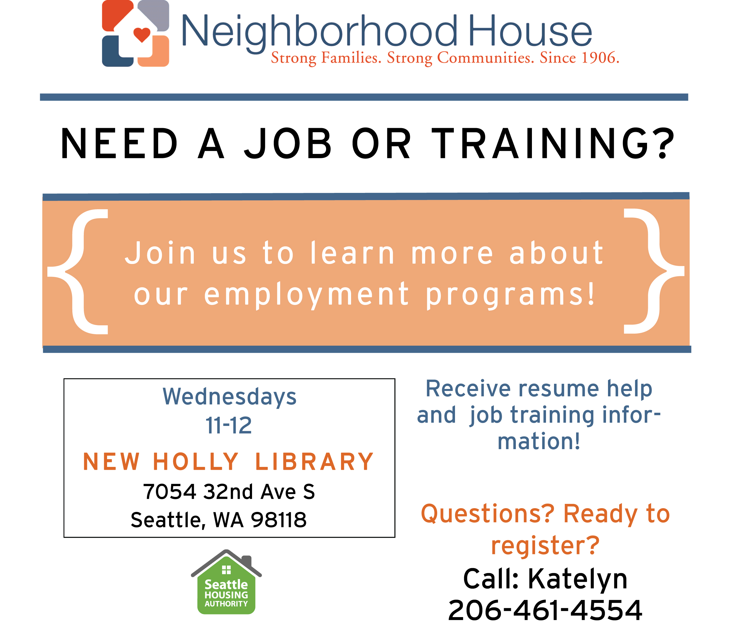 Employment - orientation flyer New Holly