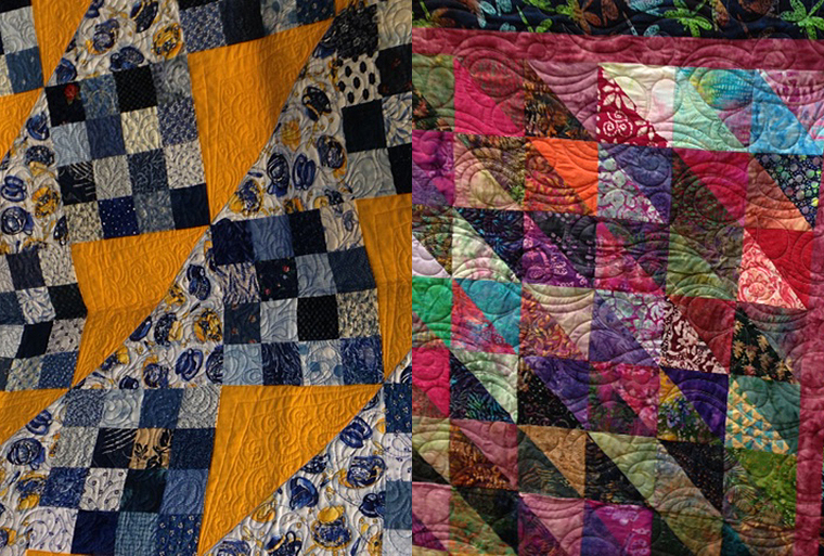 Two of the beautiful quilts donated to Family Shelter
