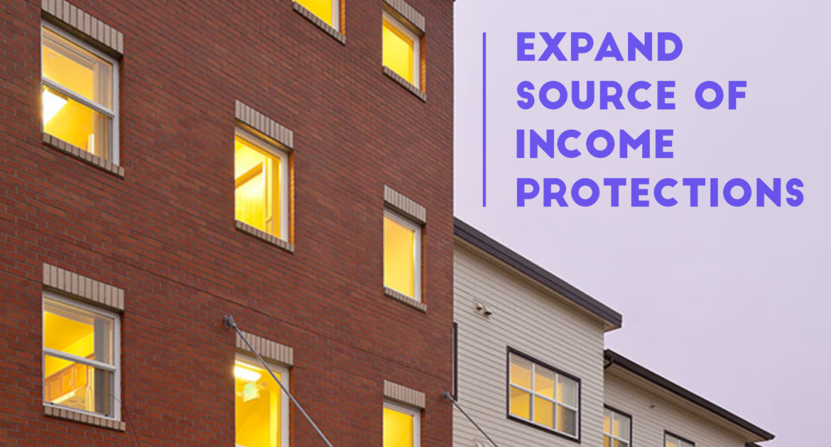 "Apartment building with words overlaid: ""expand source of income protections"""