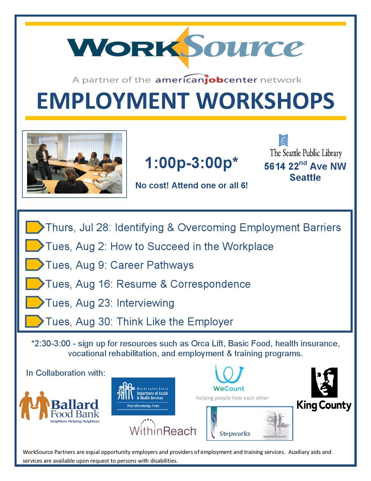 Ballard Employment Workshop Flyer