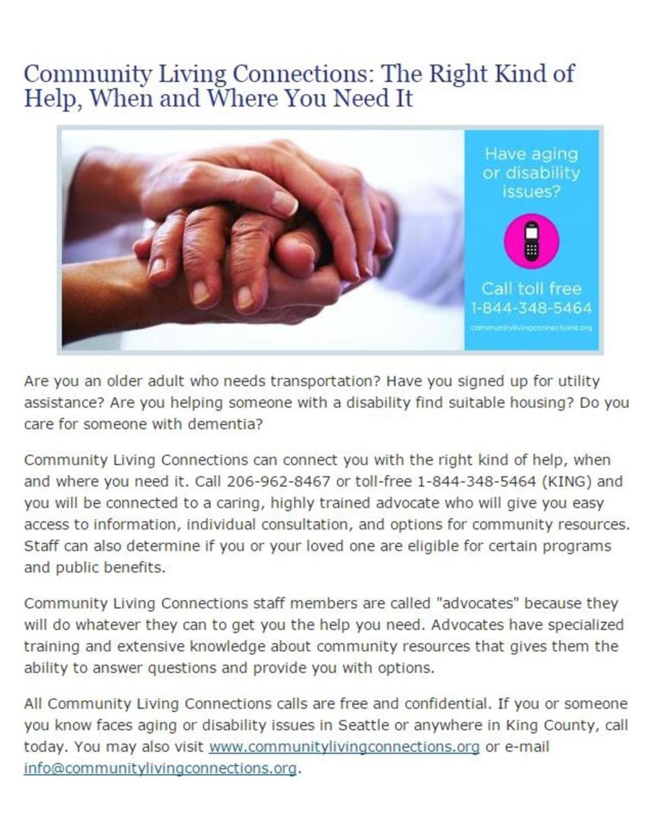 Community Living Connections Flyer