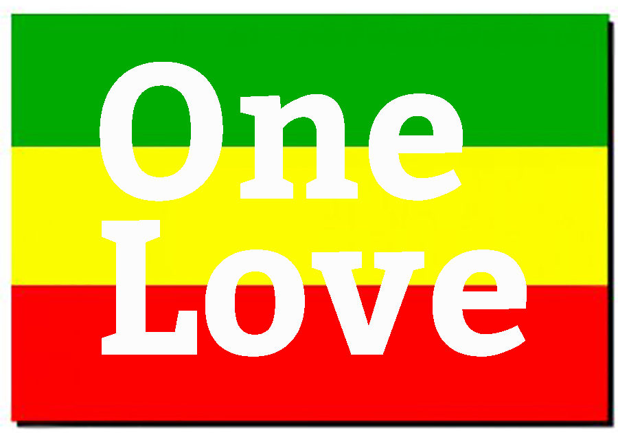 Rasta flag with words One Love superimposed