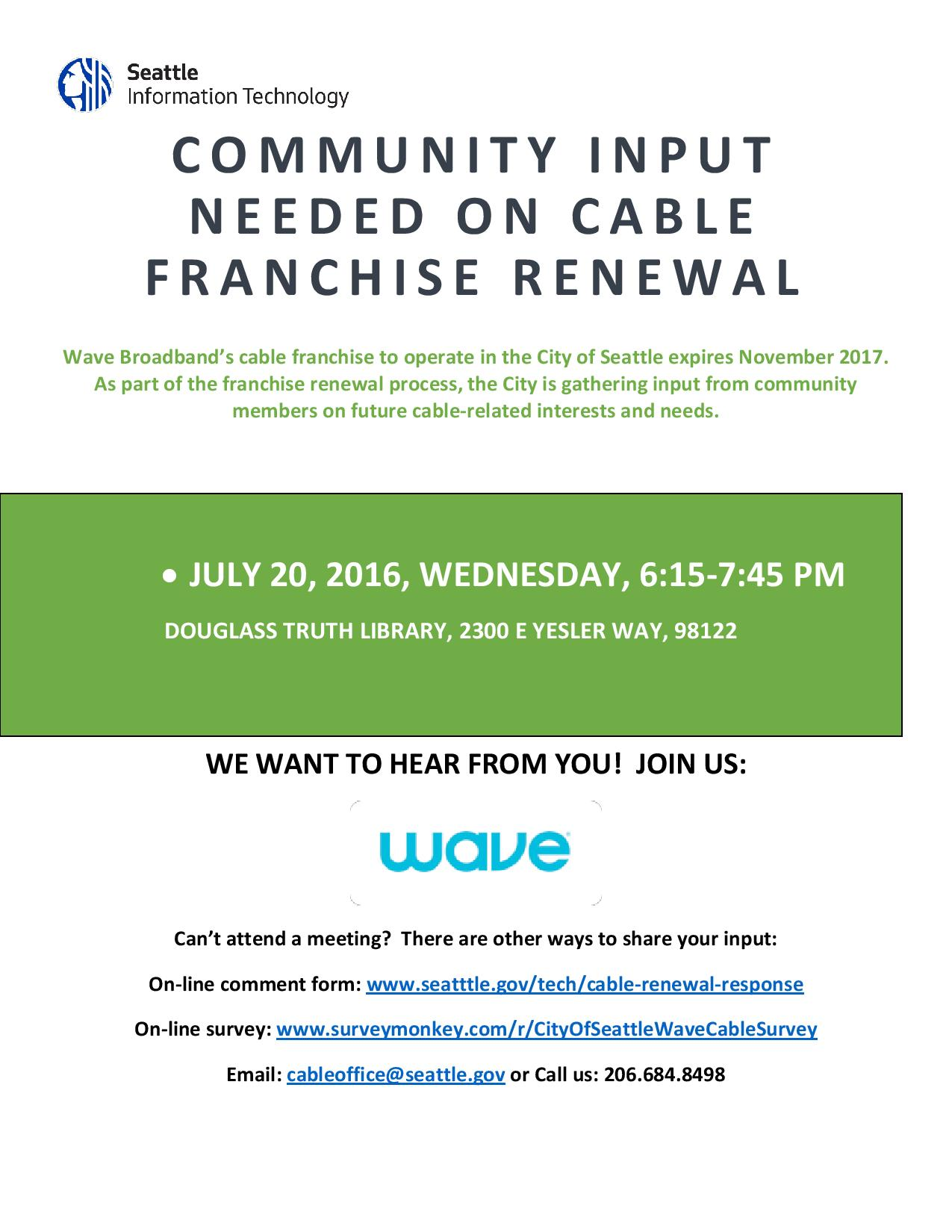 Wave Community Meeting Flyer