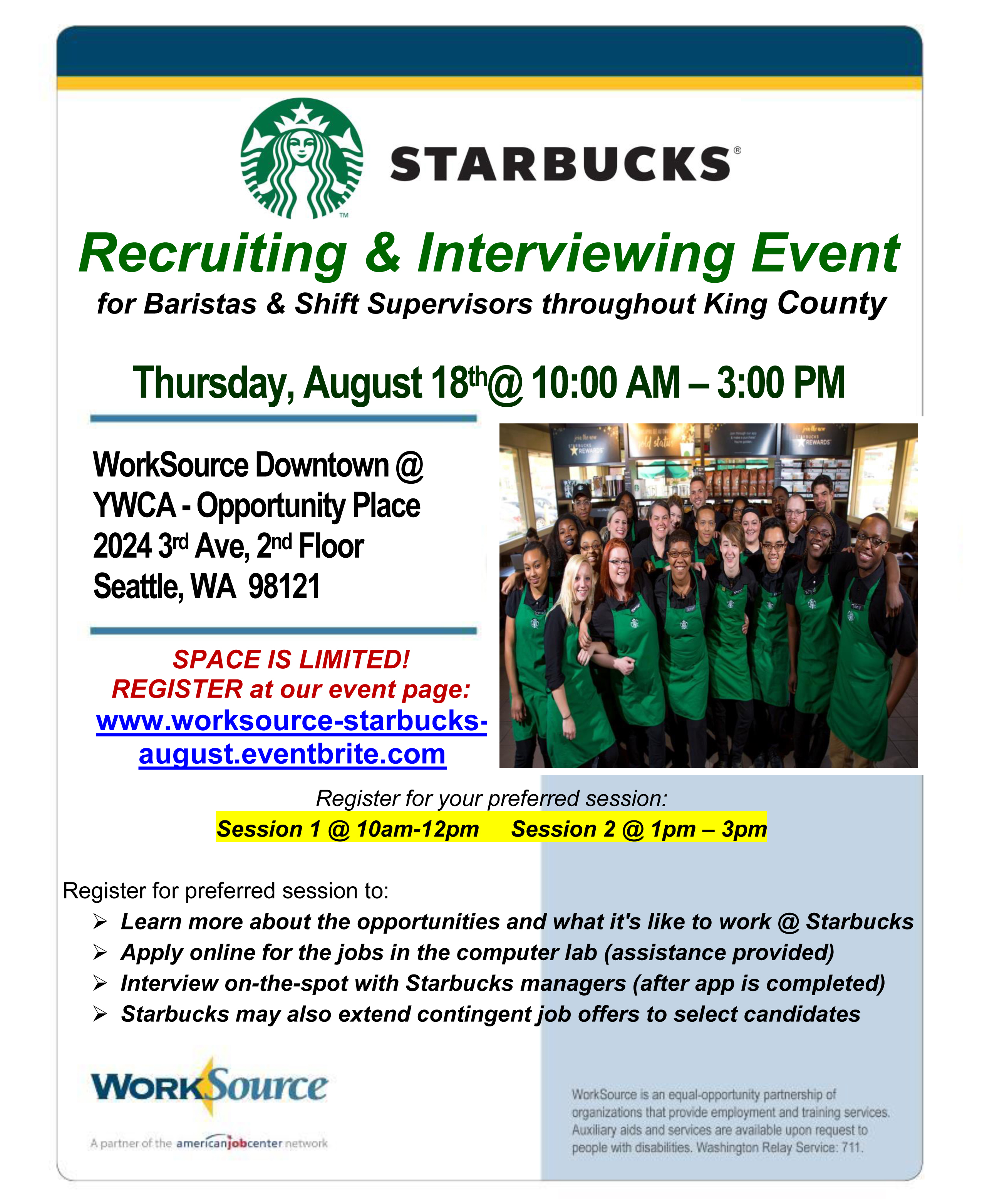 Starbucks hiring event 8-18