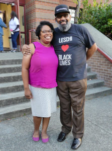 Shanelle, Solid Ground Mortgage Counselor, with her dad, Rocky Donaldson, Leschi Elementary Family Support Worker