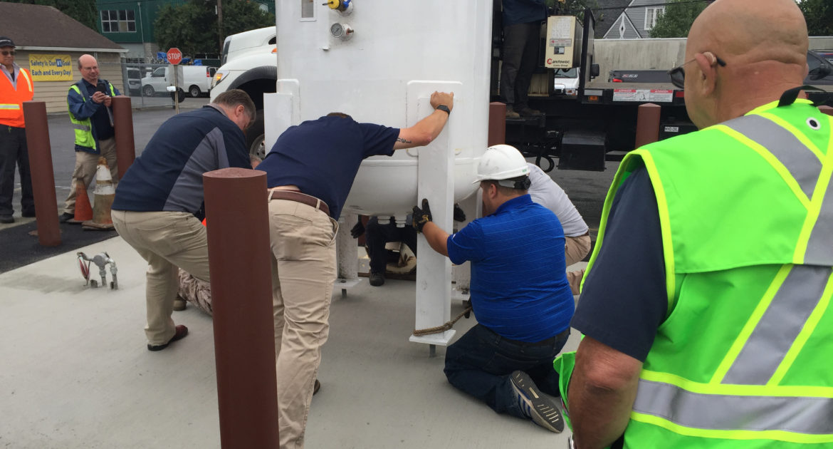Placing a propane tank at Solid Ground Transportation (SGT)