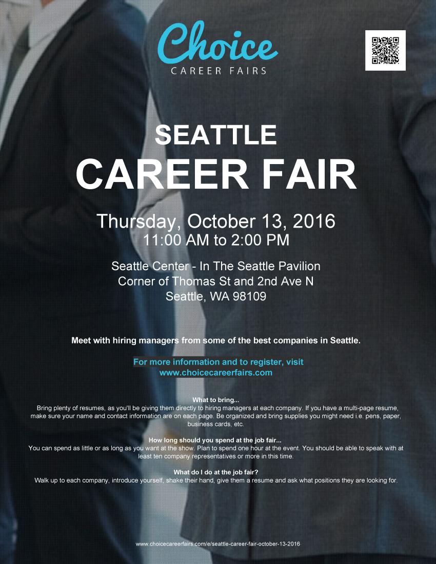 Seattle Career Fair - October 13, 2016 | Choice Career Fairs