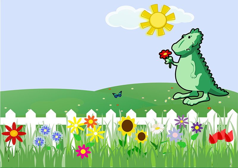 Dinosaur with flowers graphic