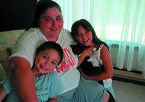 Juanita with her two kids, Jeremy & Jessie, fall 2001 (photo by Jennifer Loomis)