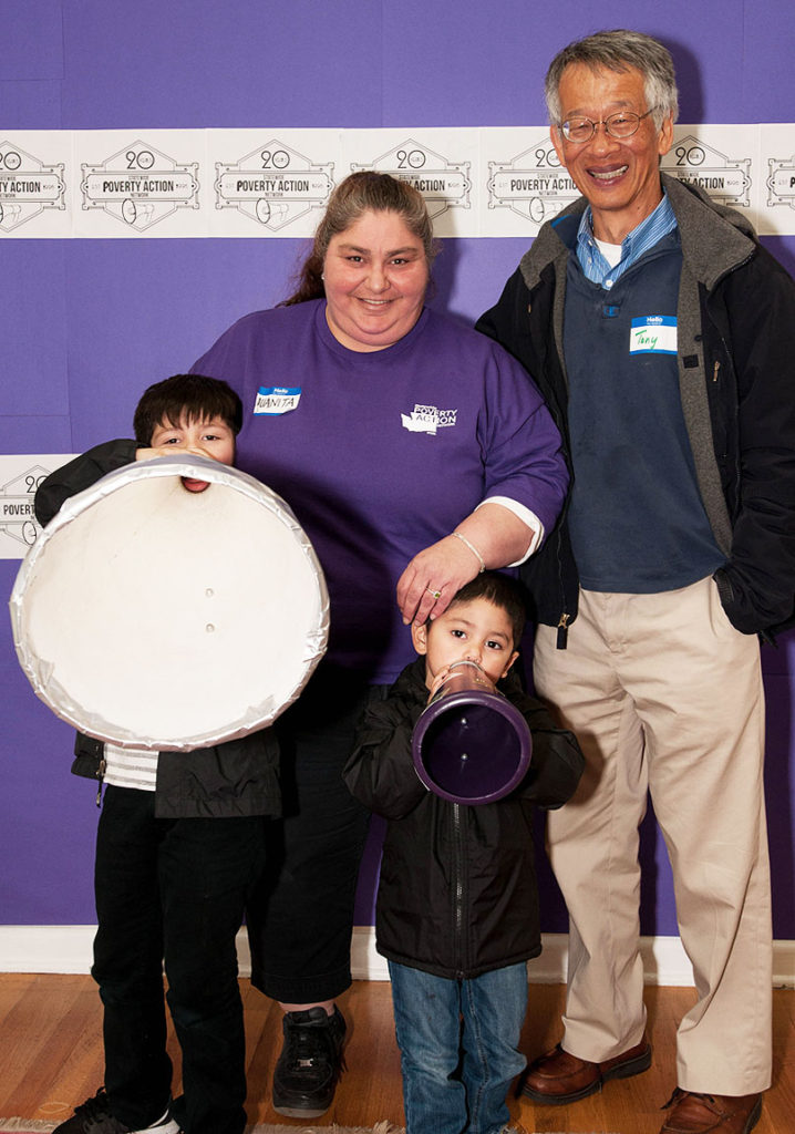 (L to r): Anthony with a giant megaphone, Juanita, Giovanni & Tony Lee (photo by Roshni Sampath)