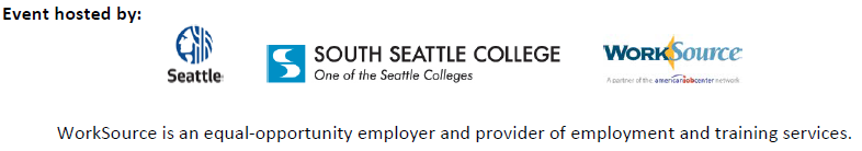 City of Seattle, South Seattle College & WorkSource logos