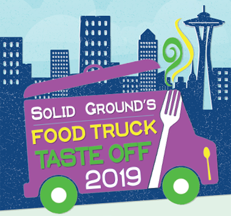 Graphic of purple truck in front of a navy blue Seattle cityscape for Solid Ground's 8/8/19 Food Truck Taste Off event