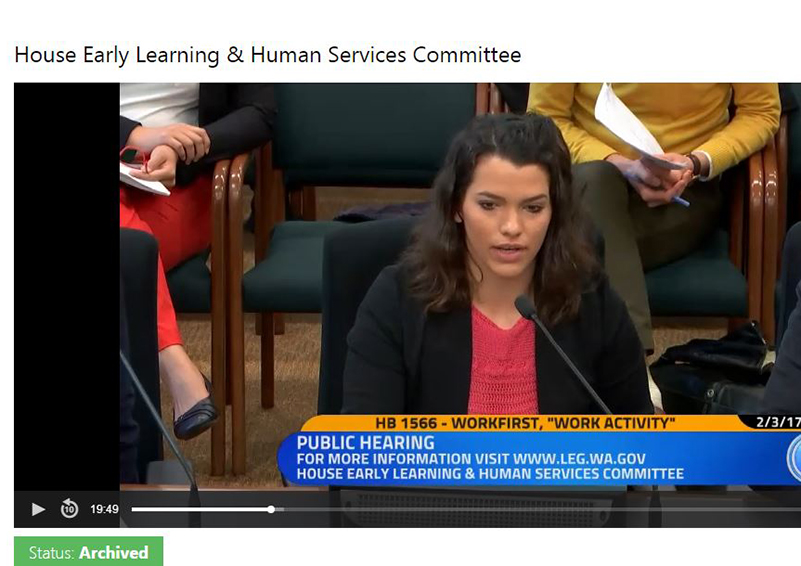 TANF recipient, mom of three Kristina of Everett testifies to the House Early Learning and Human Services Committee