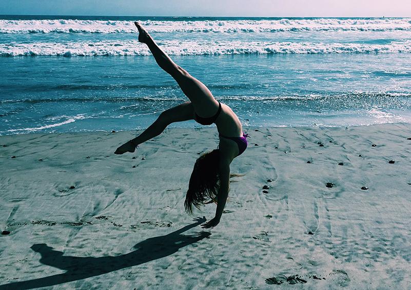backflip on beach