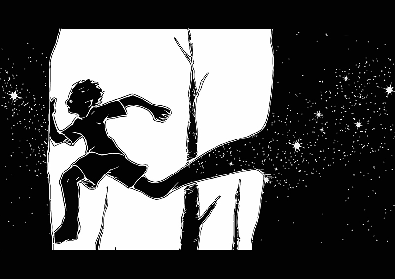 Black & white painting of a boy running away with stark trees in the background