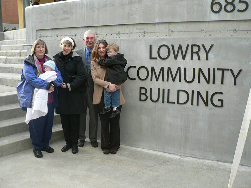 Mike Lowry and family at April 2011 dedication of Sand Point Housing campus.