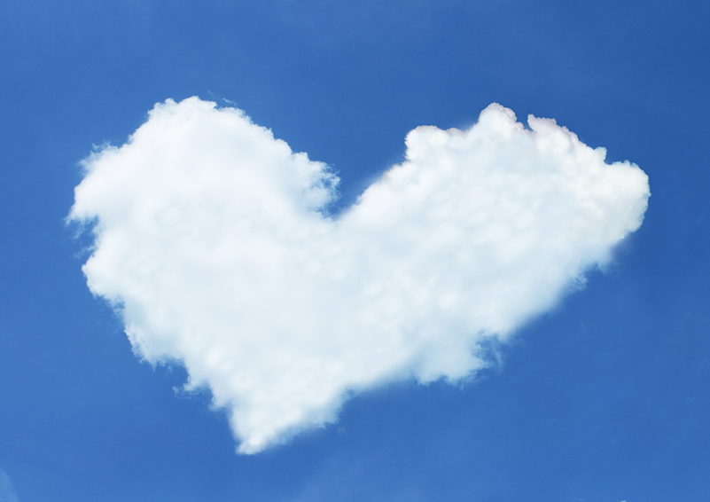 heart-shaped cloud on deep blue sky