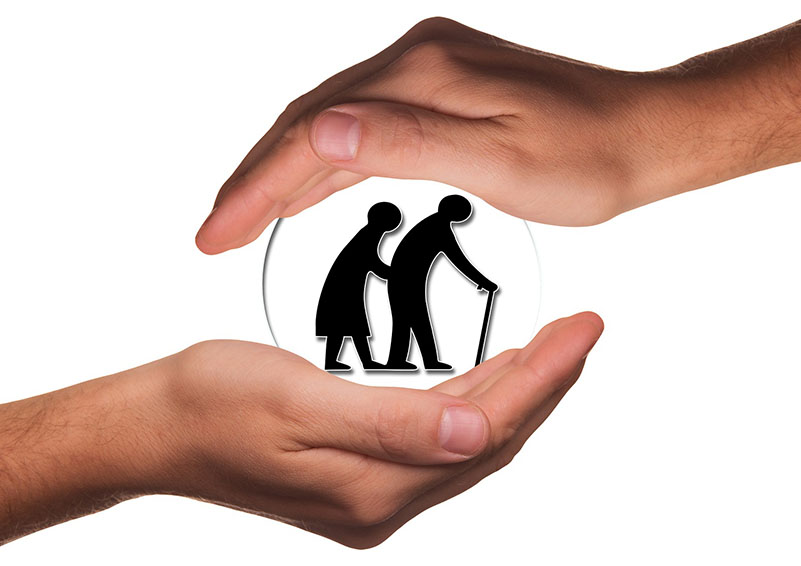 graphic of seniors cradled in caring hands