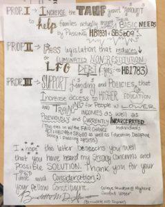 Letter from new voter Bernadette Sheran to her district legislator. (pg. 2)