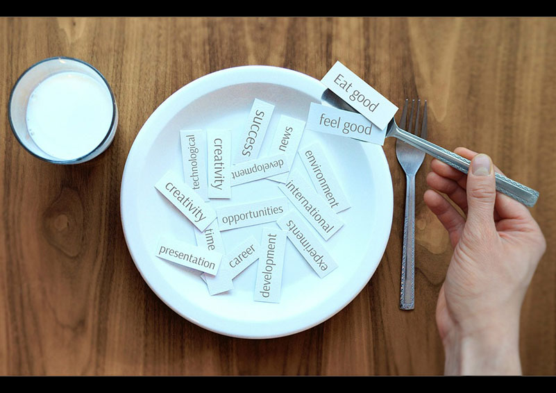 Dinner plate with success words on it