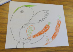 A student created this healthy leader poster to encourage other students to eat more carrots.